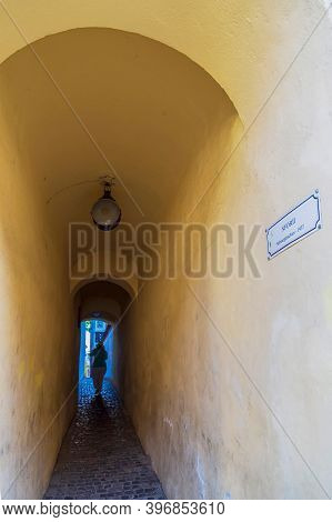 Brasov, Romania-july 11, 2020: Rope Street, The Narrowest Street In The City And One Of The Narrowes