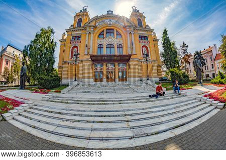 Cluj-napoca, Romania-september 20, 2020: Facade Of The National Theatre And Opera,architectural Styl