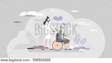 Elderly Care As Senior Assistance With Health Support Tiny Person Concept. Nursing Old Pensioner Wit