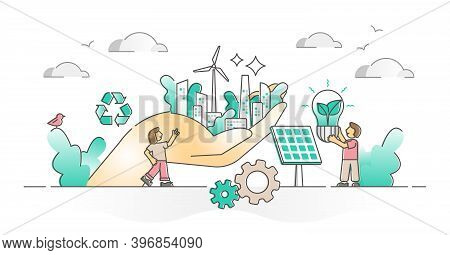 Environment Care With Sustainable Electricity Power Source Outline Concept. Abstract Ecological Recy