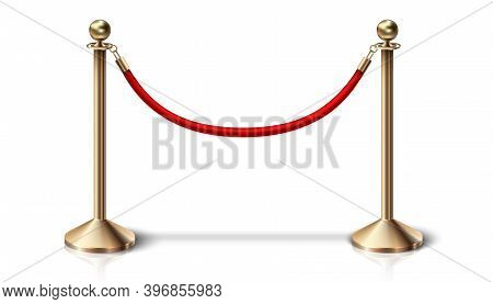 3d Realistic Vector Red Velvet Barrier Rope With Golden Details. Isolated On White Background.