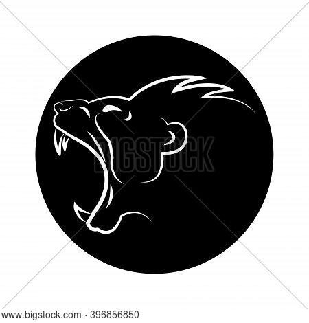 Linear Image Of A Wild Beast Isolated On A Black Background. The Roar Of The Beast. Head Of A Roarin