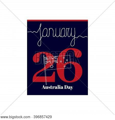 Calendar Sheet, Vector Illustration On The Theme Of Australia Day Christmas On January 26. Decorated