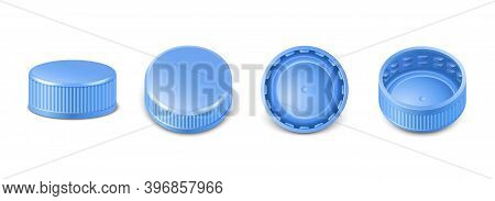 3d Realistic Collection Of Blue Plastic Bottle Caps In Side, Top And Bottom View. Mockup With Pet Sc