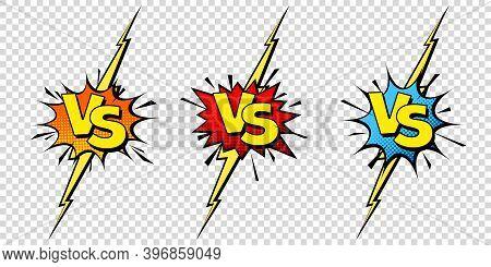 Comic Challenge Background. Cartoon Battle, Fight Border. Versus Or Vs Frame With Lightning. Sports