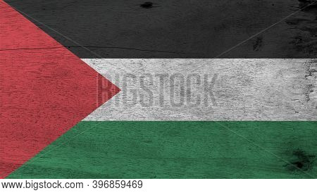 Flag Of Palestine On Wooden Plate Background. Grunge Palestine Flag Texture, A Horizontal Tricolor O