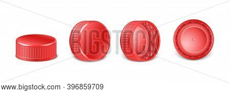 3d Realistic Collection Of Red Plastic Bottle Caps In Side, Top And Bottom View. Mockup With Pet Scr