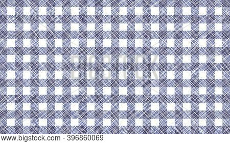 Gray Black White Vintage Checkered Background With Blur, Gradient And Grunge Texture. Classic Checke