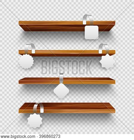 Realistic Vector Wooden Store Shelves, Supermarket Promotional Wobblers. Product Shelf With Advertis