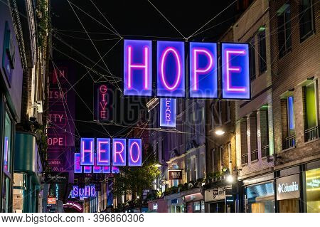 London, Uk - November 1, 2020: Positive Messages In The Carnaby Street 2020 Christmas Lights Paying