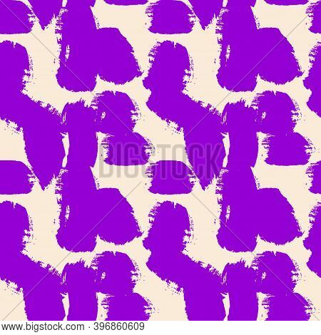 Seamless Abstract Pattern In Lilac And Violet Colors. Paint Splashes, Brush Strokes. Modern Abstract