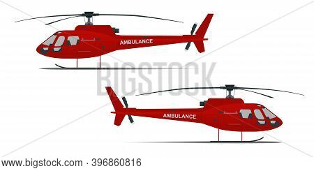 Rescue Helicopter Side View On A Isolated White Background. Red Medical Evacuation Helicopter. Ambul