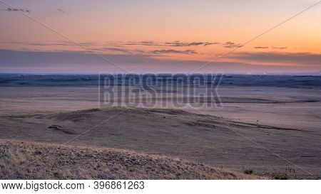 dusk over prairie in northern Colorado near Fort Collins as viewed from Soapstone Prairie Open Space