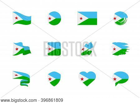 Djibouti Flag - Flat Collection. Flags Of Different Shaped Twelve Flat Icons.