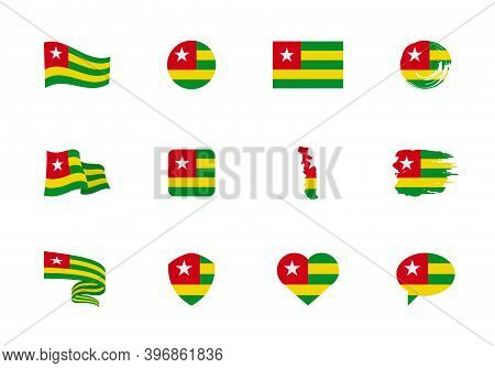 Togo Flag - Flat Collection. Flags Of Different Shaped Twelve Flat Icons.