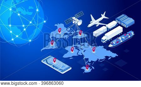 Isometric Global Logistics Network Concept. Freight Shipping. Satellite Tracks The Movement Of Freig