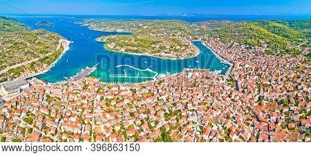 Bay Of Vela Luka On Korcula Island Aerial Panoramic View, Archipelago Of Southern Dalmatia, Croatia
