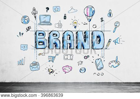 Colorful Brand Sketch Drawn In Concrete Wall Room. Concept Of Marketing And Branding