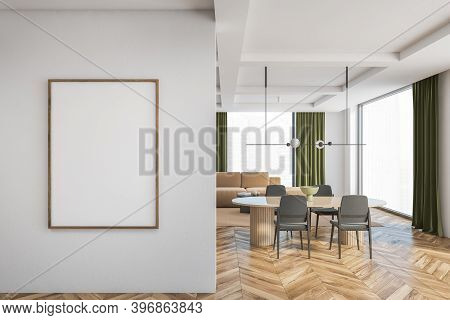 Mockup Canvas Frame On White Wall In Living Room With Grey Chairs, Brown Table And Brown Sofa On Bac