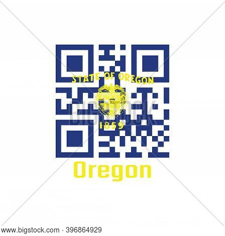 Qr Code Set The Color Of Oregon Flag. The States Of America. Seal Of Oregon In Gold On An Azure Fiel