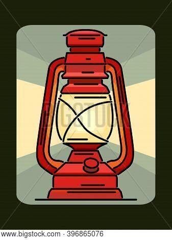 Simple Vector Illustration Of Retro Kerosene Lantern Drawn In Art Line Style.
