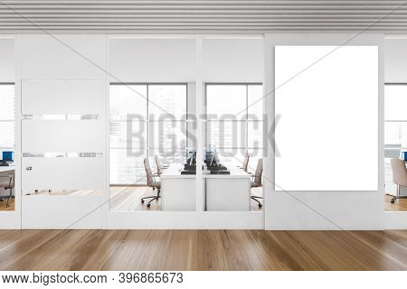 Interior Of Stylish Office Hall With White And Wooden Walls, Wooden Floor And Open Space Office. Ver