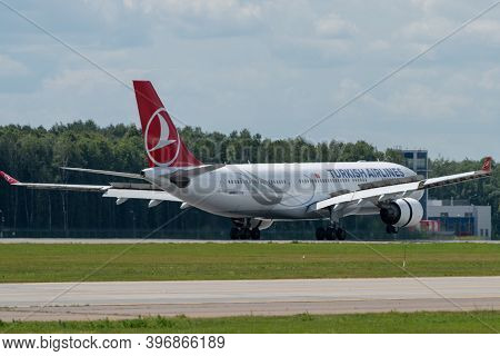 July 2, 2019, Moscow, Russia. Airplane Airbus A330-200 Turkish Airlines At Vnukovo Airport In Moscow