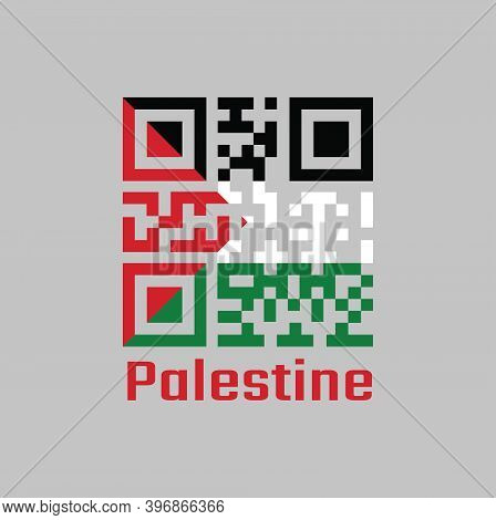 Qr Code Set The Color Of Palestine Flag, A Horizontal Tricolor Of Black, White, And Green; With A Re