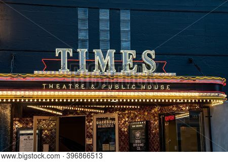 Seaside, Oregon - July 31, 2020: Sign For The Times Theater And Public House, Lit Up In Neon At Nigh