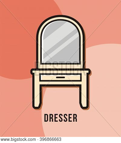 Dresser Make Up Table With Mirror Design Vector Illustration
