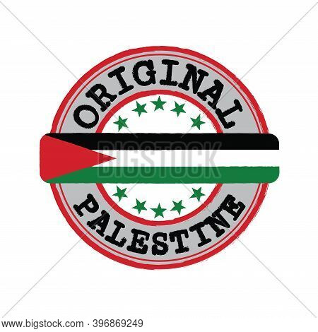 Vector Stamp For Original Logo With Text Palestine And Tying In The Middle With Nation Flag. Grunge
