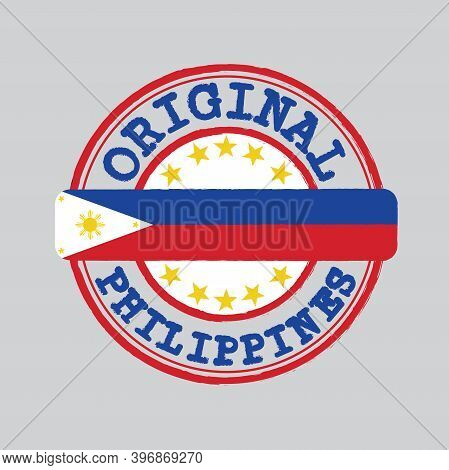 Vector Stamp For Original Logo With Text Philippines And Tying In The Middle With Nation Flag. Grung