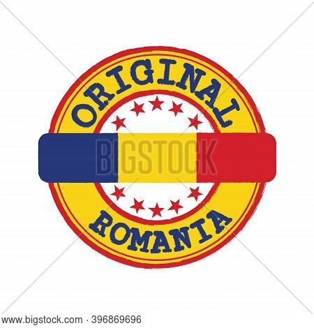 Vector Stamp For Original Logo With Text Romania And Tying In The Middle With Nation Flag. Grunge Ru