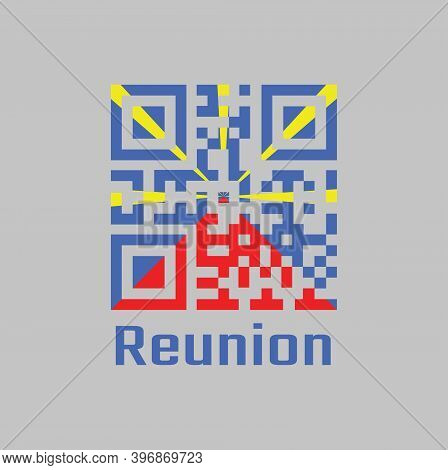 Qr Code Set The Color Of Reunion Flag, Red Yellow And Blue Color On Grey Background. Text: Reunion.