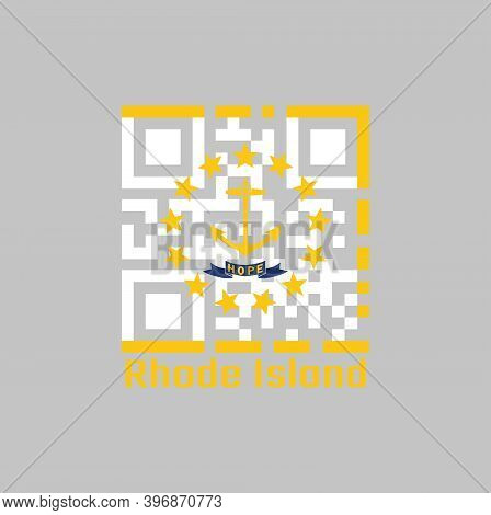 Qr Code Set The Color Of Rhode Island Flag. The States Of America. Gold Anchor, Surrounded By 13 Gol