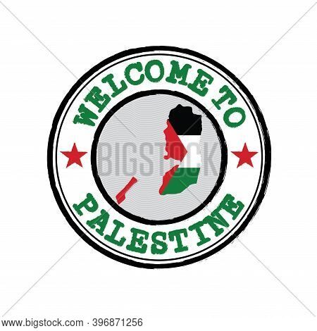 Vector Stamp Of Welcome To Palestine With Nation Flag On Map Outline In The Center. Grunge Rubber Te