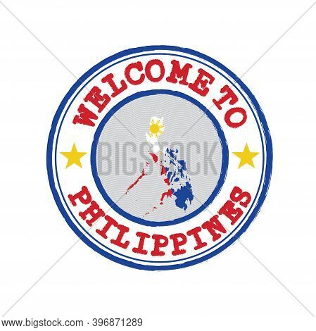 Vector Stamp Of Welcome To Philippines With Map Outline Of The Nation In Center. Grunge Rubber Textu