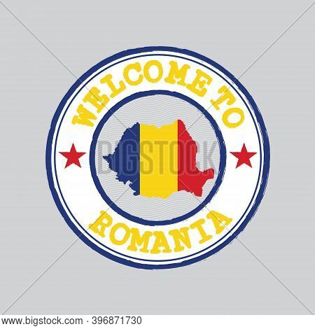 Vector Stamp Of Welcome To Romania With Map Outline Of The Nation In Center. Grunge Rubber Texture S