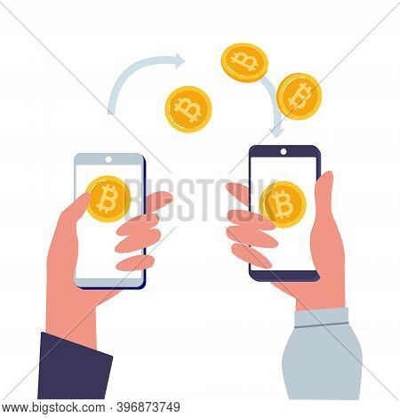 Cryptocurrency Exchange. Mobile Bitcoin Wallet In Hand. Blockchain Technologies, Bitcoins, Cryptocur