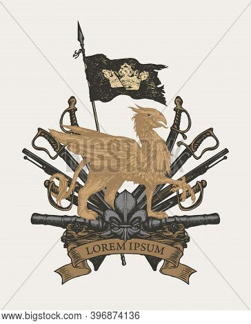 Old Heraldic Coat Of Arms In Vintage Style With Griffin, Pirate Flag, Sabers, Swords, Cannons And Fl