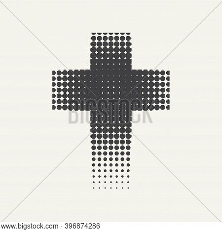 Dotted Black Religious Cross Isolated On A Light Background. Vector Halftone Pattern Of Religious Cr