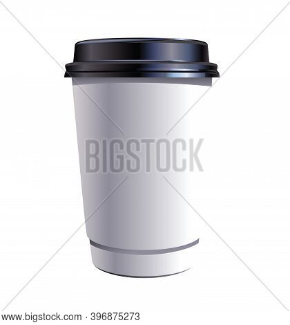 Paper Coffee Thermo Cup, White Blank Plastic Container With Black Lid, Take-out Coffee, Packaging Te
