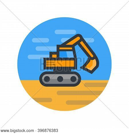 Excavator, Vector Illustration In Flat Style, Eps 10 File, Easy To Edit