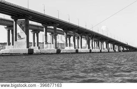 Kerch, Crimea - September 16, 2020: Crimean Bridge Across Kerch Strait Between Black And Azov Seas C