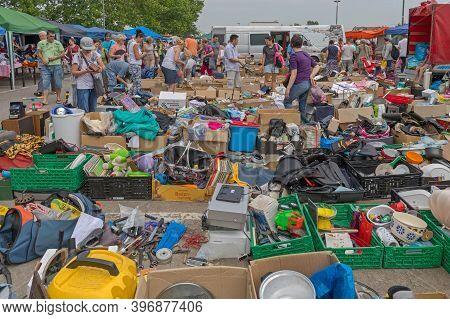 Novi Sad, Serbia - June 2, 2018: People At Famous Najlon Pijaca Big Flea Market In Novi Sad, Serbia.