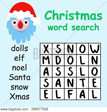Christmas Word Search Puzzle For Kids Stock Vector Illustration. Help Santa Claus To Find All Hidden
