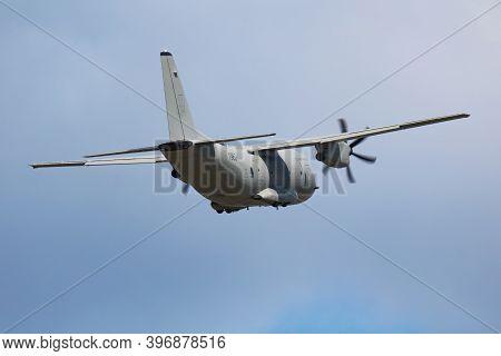 Sliac / Slovakia - August 3, 2019: Slovak Air Force Leonardo C-27j Spartan 1962 Transport Plane Disp