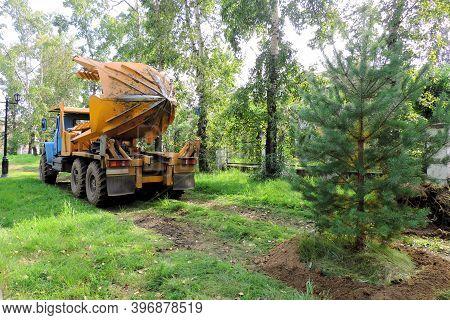 Angarsk, Russia - August 4, 2020 :   Tree Transplanter Heavy Machine. Machine For Transplanting Larg