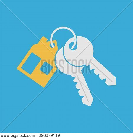 Bunch Key Icon With Trinket. House Key Chain With Two Keys On Blue Background.