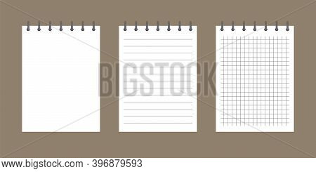 Template Notebook Empty Paper. Lined, Squared And Blank Paper Sheet. Notepad Mockup With Spiral.